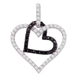 0.50 CTW Black Color Diamond Double Heart Pendant 10KT White Gold - REF-34N4F