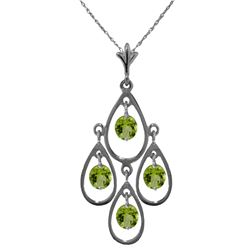 Genuine 1.20 ctw Peridot Necklace Jewelry 14KT White Gold - REF-30K7V