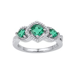 1.38 CTW Princess Created Emerald 3-stone Diamond Ring 10KT White Gold - REF-22M4H