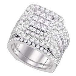 3.98 CTW Diamond Cluster Wedding Bridal Ring 14KT White Gold - REF-389W9K