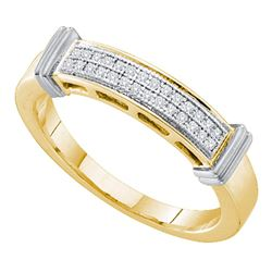 0.08 CTW Diamond 2-tone Ring 10KT Yellow Gold - REF-14X9Y