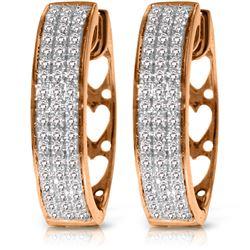 Genuine 0.45 ctw Diamond Anniversary Earrings Jewelry 10KT Rose Gold - REF-116M2T