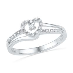 0.06 CTW Diamond Heart Love Promise Bridal Ring 10KT White Gold - REF-12Y8X