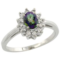 Natural 0.67 ctw Mystic-topaz & Diamond Engagement Ring 10K White Gold - REF-38V8F