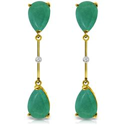 Genuine 15.01 ctw Emerald & Diamond Earrings Jewelry 14KT Yellow Gold - REF-90K6V