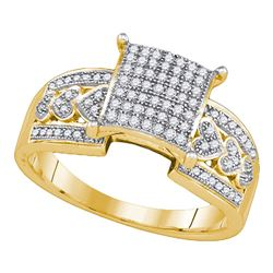 0.30 CTW Diamond Square Cluster Heart Bridal Engagement Ring 10KT Yellow Gold - REF-30W2K
