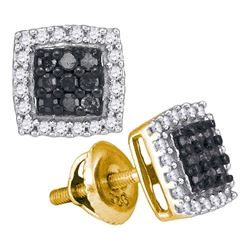 0.50 CTW Black Color Diamond Square Cluster Earrings 10KT Yellow Gold - REF-26N9F