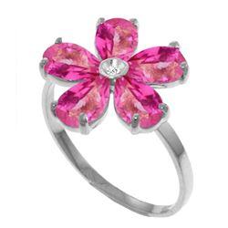Genuine 2.22 ctw Pink Topaz & Diamond Ring Jewelry 14KT White Gold - REF-36A3K