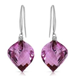 Genuine 21.6 ctw Amethyst & Diamond Earrings Jewelry 14KT White Gold - REF-49V8W