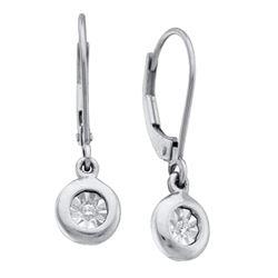 0.04 CTW Diamond Illusion Dangle Leverback Earrings 10KT White Gold - REF-14F9N