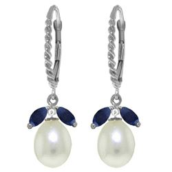 Genuine 9 ctw Sapphire & Pearl Earrings Jewelry 14KT White Gold - REF-42X4M