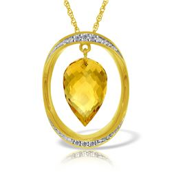 Genuine 9.6 ctw Citrine & Diamond Necklace Jewelry 14KT Yellow Gold - REF-109R6P