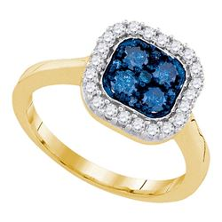0.75 CTW Blue Color Diamond Square Cluster Ring 10KT Yellow Gold - REF-44X9Y