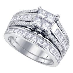 1.9 CTW Princess Diamond Cluster Bridal Engagement Ring 14KT White Gold - REF-232Y4X