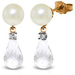 Genuine 6.6 ctw White Topaz & Diamond Earrings Jewelry 14KT Rose Gold - REF-27H6X