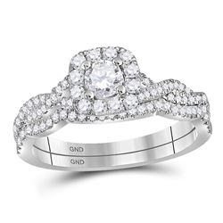 0.68 CTW Diamond Bridal Wedding Engagement Ring 14KT White Gold - REF-97W4K