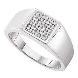 0.15 CTW Mens Diamond Square Cluster Ring 10KT White Gold - REF-41K9W