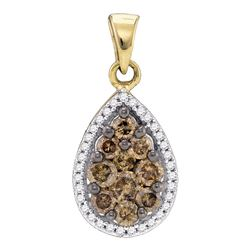 0.81 CTW Brown Color Diamond Teardrop Pendant 10KT Yellow Gold - REF-30H2M