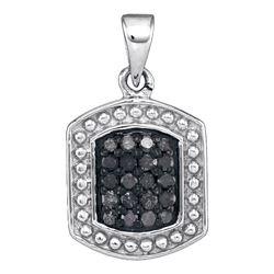 0.20 CTW Black Color Diamond Rectangle Cluster Pendant 10KT White Gold - REF-11X2Y