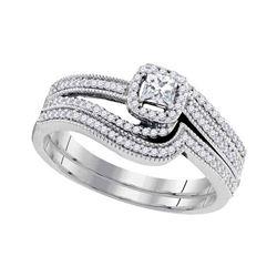 0.38 CTW Diamond Princess Bridal Engagement Ring 10KT White Gold - REF-52K4W