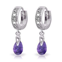 Genuine 1.37 ctw Amethyst & Diamond Earrings Jewelry 14KT White Gold - REF-34Z3N