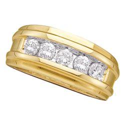 1 CTW Mens Diamond Single Row Ridged Wedding Ring 14KT Yellow Gold - REF-165H2M