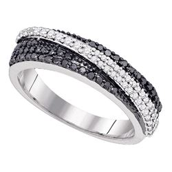 0.45 CTW Black Color Diamond Crossover Ring 10KT White Gold - REF-49M5H