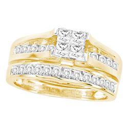 3 CTW Princess Diamond Bridal Engagement Ring 14KT Yellow Gold - REF-359N9F