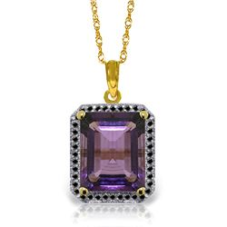 Genuine 5.8 ctw Amethyst & Black Diamond Necklace Jewelry 14KT Yellow Gold - REF-68H7X