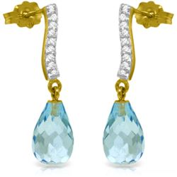 Genuine 4.78 ctw Blue Topaz & Diamond Earrings Jewelry 14KT Yellow Gold - REF-46Y2F