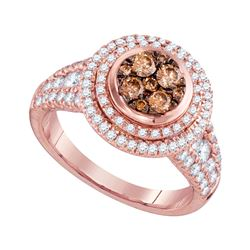 1.51 CTW Cognac-brown Color Diamond Cluster Bridal Ring 14KT Rose Gold - REF-157F5N