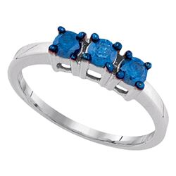 0.50 CTW Blue Color Diamond 3-stone Bridal Ring 10KT White Gold - REF-26M9H