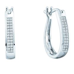 0.14 CTW Diamond Hoop Earrings 10KT White Gold - REF-22K4W