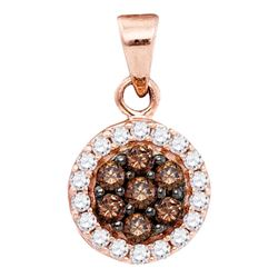 0.40 CTW Cognac-brown Color Diamond Flower Cluster Pendant 10KT Rose Gold - REF-19H4M