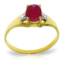 Genuine 1.26 ctw Ruby & Diamond Ring Jewelry 14KT Yellow Gold - REF-26V2W