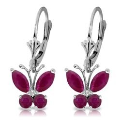 Genuine 1.24 ctw Ruby Earrings Jewelry 14KT White Gold - REF-41Z6N
