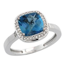 Natural 3.94 ctw London-blue-topaz & Diamond Engagement Ring 10K White Gold - REF-30K2R