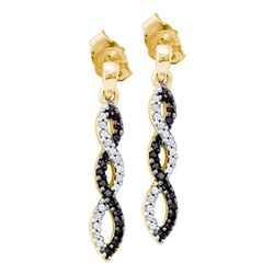 0.15 CTW Black Color Diamond Infinity Dangle Earrings 14KT Yellow Gold - REF-22K4W