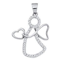 0.12 CTW Diamond Guardian Angel Heart Pendant 10KT White Gold - REF-10W5K