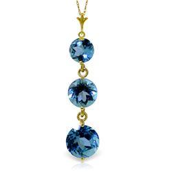 Genuine 3.6 ctw Blue Topaz Necklace Jewelry 14KT Yellow Gold - REF-24V4W