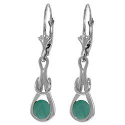 Genuine 1.30 ctw Emerald Earrings Jewelry 14KT White Gold - REF-54F5Z