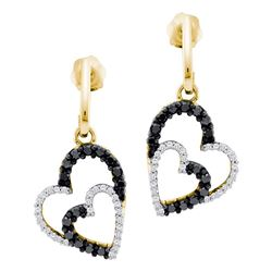 0.50 CTW Black Color Diamond Double Heart Dangle Earrings 10KT Yellow Gold - REF-37W5K