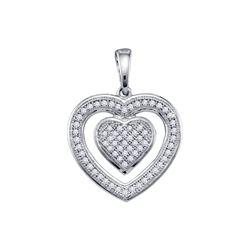 0.20 CTW Diamond Double Heart Pendant 10KT White Gold - REF-18N2F