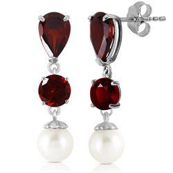 Genuine 10.50 ctw Garnet & Pearl Earrings Jewelry 14KT White Gold - REF-40W9Y