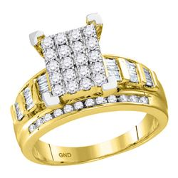 0.92 CTW Diamond Cluster Bridal Engagement Ring 10KT Yellow Gold - REF-64X4Y