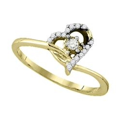 0.10 CTW Diamond Heart Promise Bridal Engagement Ring 10KT Yellow Gold - REF-14M9H