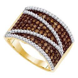 1 CTW Cognac-brown Color Diamond Ring 10KT Yellow Gold - REF-44K9W
