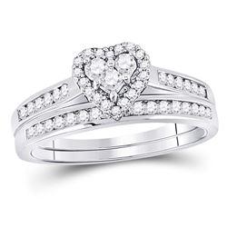 0.55 CTW Diamond Heart Bridal Engagement Ring 14KT White Gold - REF-47F9N