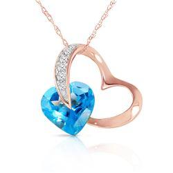 Genuine 4.6 ctw Blue Topaz & Diamond Necklace Jewelry 14KT Rose Gold - REF-50A7K