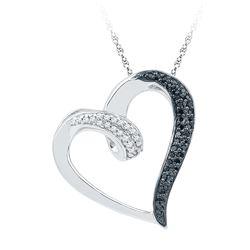0.16 CTW Black Color Diamond Heart Love Pendant 10KT White Gold - REF-18K2W
